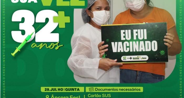 Barra de Santo Antônio amplia vacinação contra covid para maiores de 32 anos