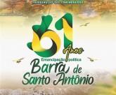 Barra de Santo Antônio comemora 61 anos de emancipação política na próxima sexta-feira (20)